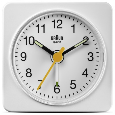 BRAUN WHITE ANALOGUE TRAVEL ALARM CLOCK