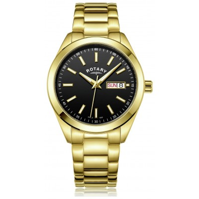 Rotary Men's Gold Plated Day and Date Bracelet Watch