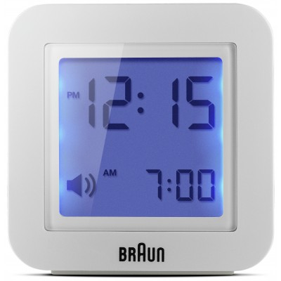 BRAUN WHITE DIGITAL TRAVEL ALARM CLOCK