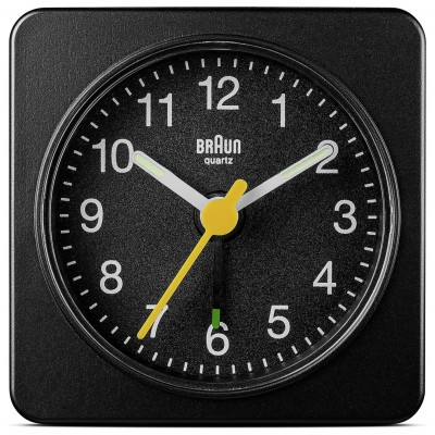BRAUN BLACK ANALOGUE TRAVEL ALARM CLOCK