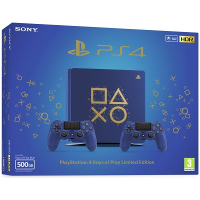 PS4 500GB Days of Play Console and Two Controllers  - Blue