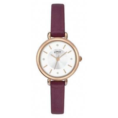 Limit Ladies' Rose Gold Plated Wine Strap Watch