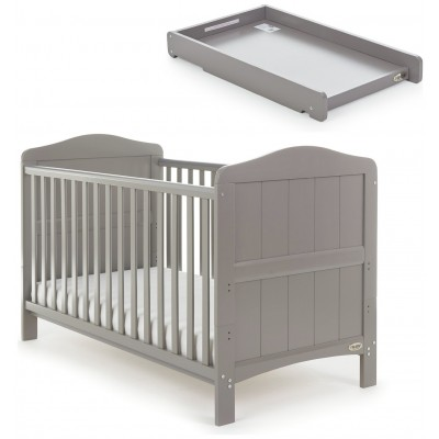 Obaby Whitby Cot Bed & Cot Top Changer - Taupe Grey