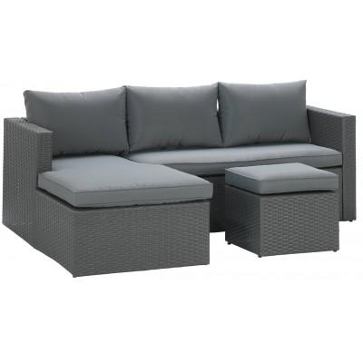 Argos Home Rattan Effect Reversible Mini Corner Sofa - Grey