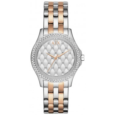 Armani Exchange Ladies Silver and Rose Gold Bracelet Watch