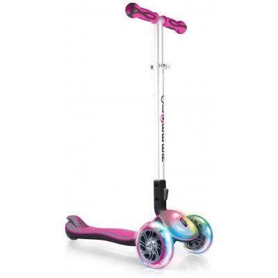 Globber Elite Lights Folding Scooter - Pink