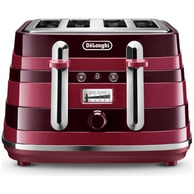 De'Longhi CTA4003R Avvolta 4 Slice Toaster - Red & Black